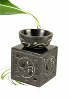Black Soap Stone Oil Burner with Om cut out design