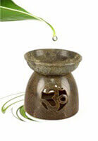 Large Soap Stone Oil Burner with Om cut out design