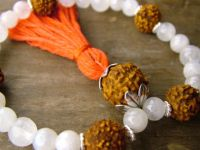 Moonstone and Rudraksha Wrist Mala