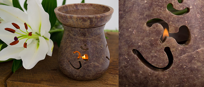 Soap Stone Oil Burner with Om cut-out design