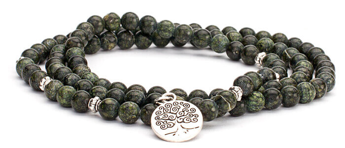 Green Serpentine Mala Bracelet