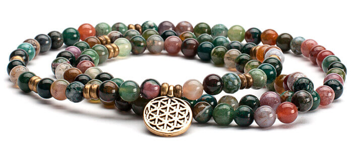 Indian Agate Mala Bracelet with Flower of Life Charm