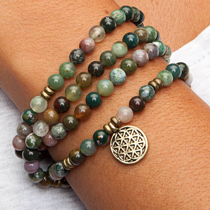 Mala Bead Bracelet 108 Bead Indian Agate And Flower Of