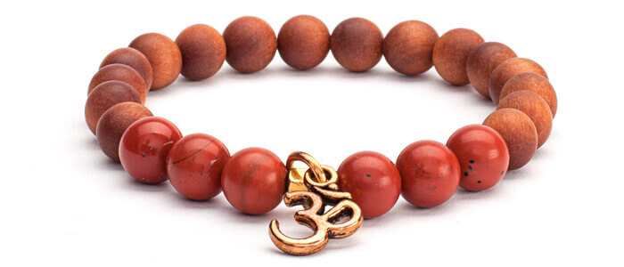 Red Jasper and Sandalwood Scented Bracelet with Om Charm