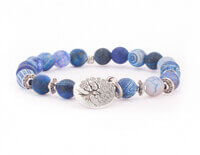 Blue Agate Mala Bracelet with Tree of Life Charm