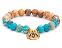 Jasper and Imperial Turquoise Mala Bracelet with Lotus Charm