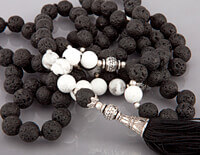 Lava Stone and Okenite 108 Bead Mala