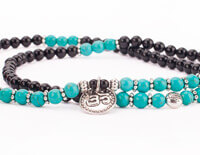 Long Mala Bracelet in Turquoise and Black Agate with Om Charm