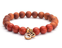 Red Jasper and Sandalwood Bracelet with Om Charm