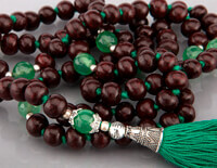 Rosewood and Green Onyx 108 Bead Mala