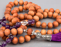 Sandalwood and Amethyst 108 Bead Mala