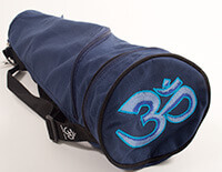 EXTRA LONG Cotton Asana Blue Yoga Mat Bag with Om embroidery for Extra Wide Mats