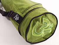 EXTRA LONG Cotton Asana Olive Yoga Mat Bag with Om embroidery for Extra Wide Mats