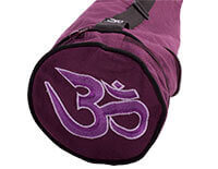 EXTRA LONG Cotton Asana Aubergine Yoga Mat Bag with Om embroidery for Extra Wide Mats