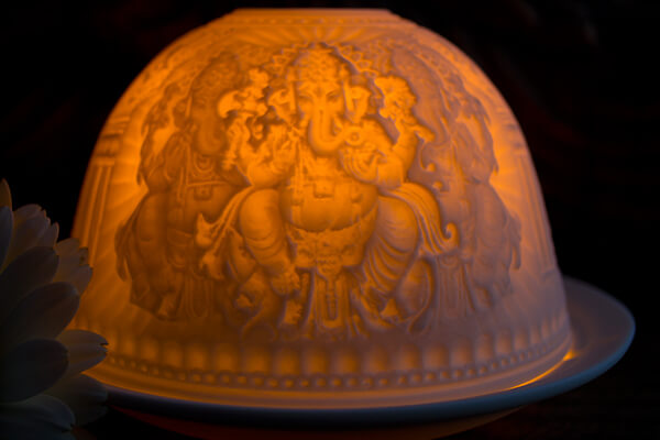 Porcelain Ganesh Tea light holder #2