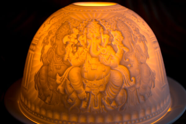 Porcelain Ganesh Tea light holder #4