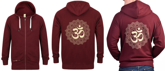 Om Mandala Zip up Yoga Hoodie | Born Peaceful | Claret