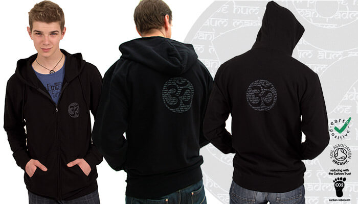 Earth Positive Om Mantra Zip up Yoga Hoodie
