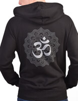 Organic Om Mandala Zip up Yoga Hoodie | Born Peaceful | Black