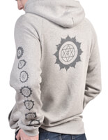 Organic Chakra Yoga Hoodie | Born Peaceful | Grey
