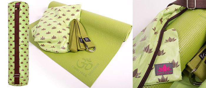 Green Lotus Flower Yoga Kit | Asana Sticky Mat with Om Padma Lime & Chocolate Mat Bag and Yoga Belt