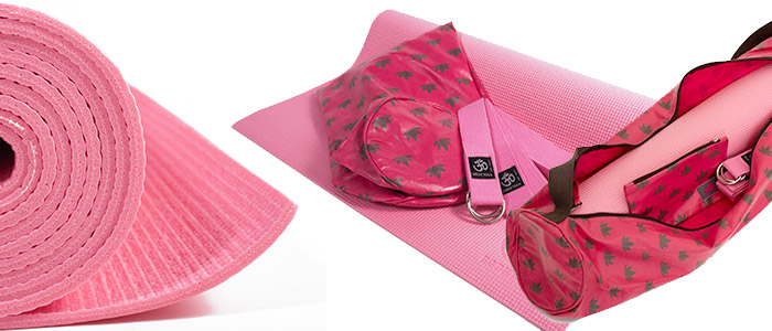 Lotus Flower Yoga Kit | Asana Sticky Mat | Om Padma Pink & Chocolate Mat Bag and Yoga Belt