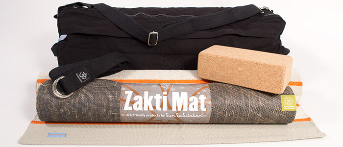 Dharma Yoga Kit - Sun Salutation Zakti Mat, Cotton Dharma Rug, Manipura Mat Bag, Cork Brick & Belt