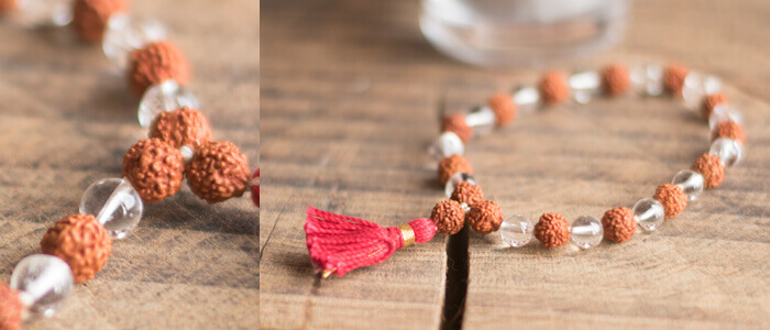 Crystal and Rudraksha Wrist Mala