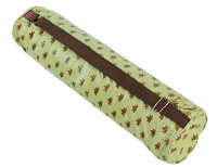 Om Padma Yoga Mat Bag in Lime and Chocolate (Laminated) - SALE PRICE