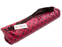 Om Padma Yoga Mat Bag in Pink and Chocolate (laminated) - SALE PRICE