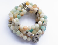 Mala of Amazon Stone with Lotus