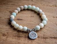 Mala Bracelet of Amazon Stone with Lotus
