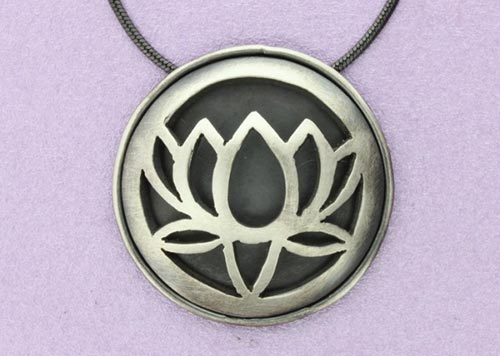 Large Lotus Pendant with back and border | Oxidised Sterling Silver | Handmade in the UK by Sally Andrews