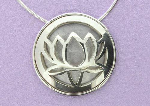 Large Lotus Pendant with back and border | Sterling Silver | Handmade in the UK by Sally Andrews