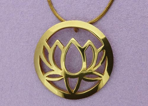 Large Single Lotus Pendant | 22ct Gold Plated | Handmade in the UK by Sally Andrews