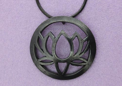 Large Single Lotus Pendant | Oxidised Sterling Silver | Handmade in the UK by Sally Andrews