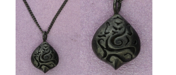 Ganesh Silver Pod Pendant | Oxidised Silver | Handmade in the UK by Sally Andrews