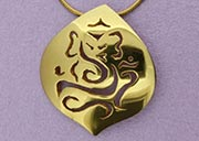 Large Ganesh Pendant | 22ct Gold Plated on Sterling Silver | Handmade in the UK by Sally Andrews