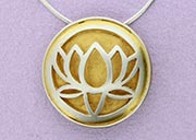 Large Lotus Pendant with back and border | 22ct Gold Plated | Handmade in the UK by Sally Andrews