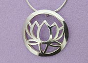 Large Single Lotus Pendant | Sterling Silver | Handmade in the UK by Sally Andrews