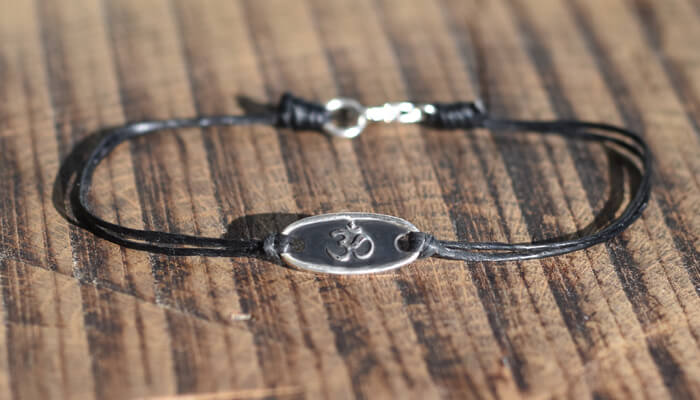 Silver Om Bracelet on waxed cotton #3