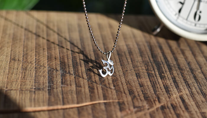 Silver Om Necklace on ball chain #2