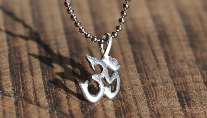 Silver Om Necklace on ball chain #3