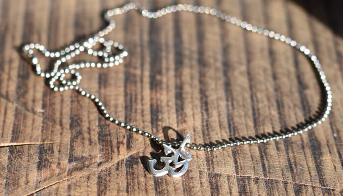 Silver Om Necklace on ball chain #4