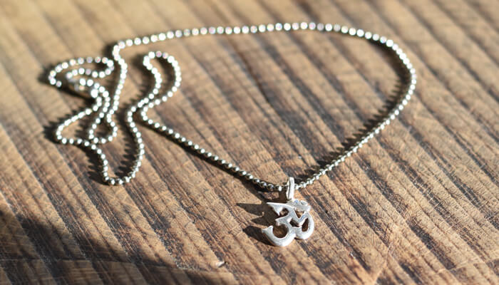 Silver Om Necklace on ball chain #6