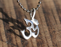 Silver Om Necklace on ball chain