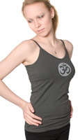 Squeezed Yoga Camisole (Hidden Support) in Charcoal with Circle Om - New Longer Length!