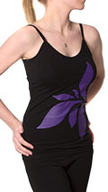 Squeezed Yoga Camisole (Hidden Support) in Black with Large Lotus Flower Print - New Longer Length!