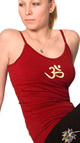 Squeezed Yoga Camisole (Hidden Support) in Red with Yellow Om - New Longer Length!