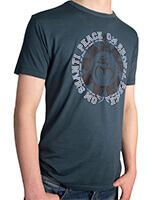 Men's Bamboo Jersey T-Shirt with Om Shanti design in Denim Blue